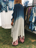 One Of A Kind Indigo Shibori Ombré Dip Dyed Linen Ruana Duster Women Boho Kimono