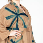 Cashmere Wool Coat with Belt in Itajime Stars