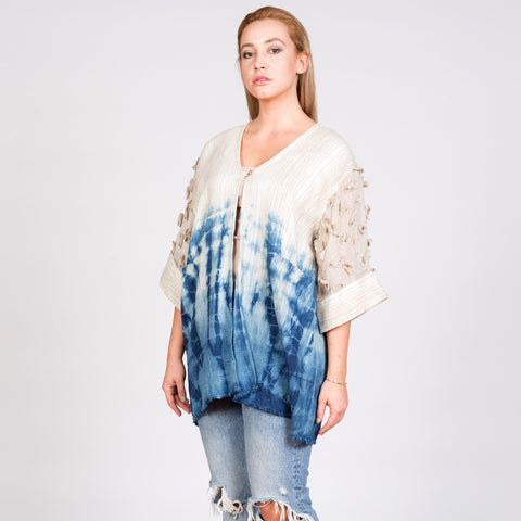 Indigo Ombre Linen and Silk Blend Kimono With Hand Sewn Applique