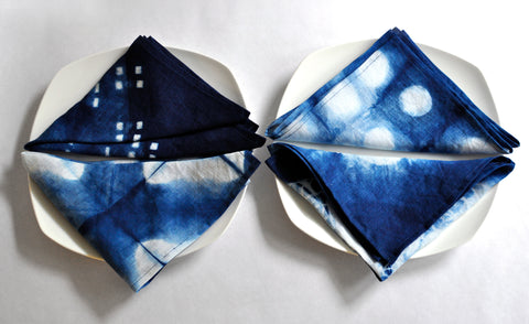 Set of Four Indigo Shibori Linen Napkins