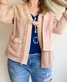 Pink Textured Blazer with Long Sleeves