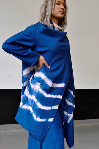 Pink Zigzag Shibori Waterfall Jacket