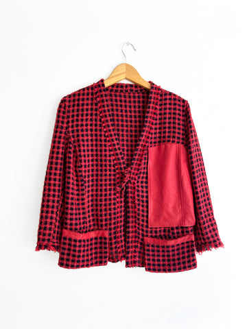 Short Red Checkered Jacket With Frayed Trims