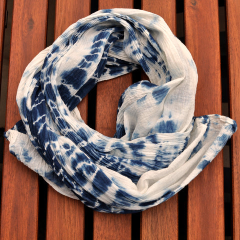 Indigo Shibori Ripples Organic Cotton Wrap Scarf