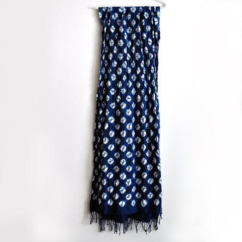 Kumo Indigo Shibori Organic Cotton Shawl Scarf with Tassels