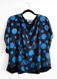 Blue Polka Dot Boxy Silk Combination Blouse