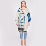 Off-White Wool Coat With Itajime Shibori Front Panel and Sleeve