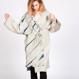 White Sand Wool Coat With Itajime Indigo Shibori