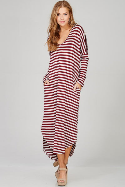 STRIPED MAXI DRESS WITH SIDE POCKETS