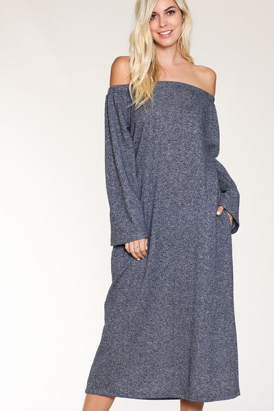 FRENCH TERRY OFF SHOULDER DRESS