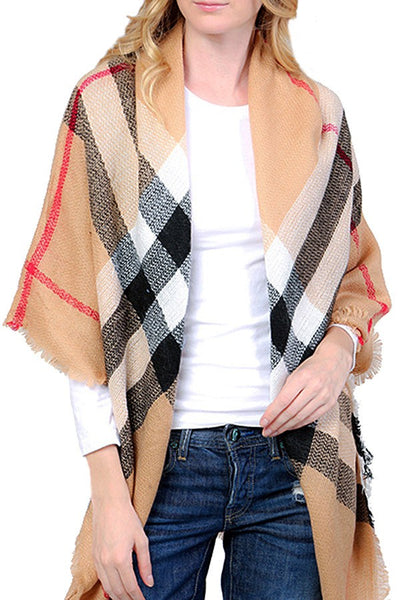 COZY KNIT FRINGED PLAID SCARF