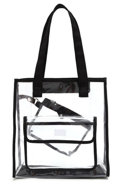 See Thru Outside Pocket Top Handle Game Day Tote