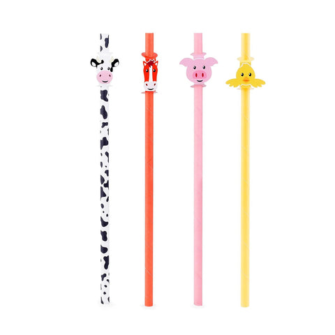12pcs Kikkerland Farm Animals, Cow, Pig, Horse, Biodegradable Paper Straws
