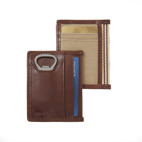 BAEKGAARD Wallet ID Card Case with Bottle Opener, Canvas with Leather Trim