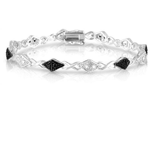 1/4CTW Black and White Diamond Bracelet in Sterling Silver