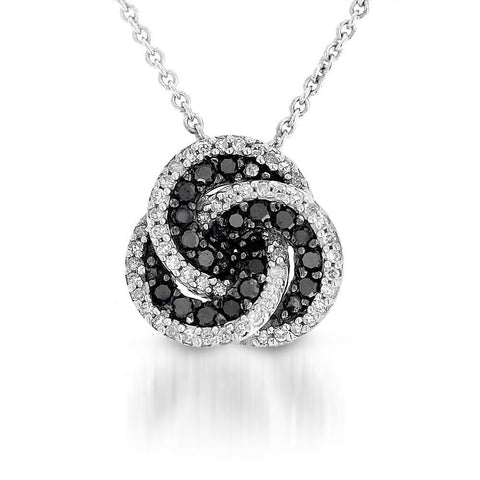 1/3CTW Black and White Diamond Swirl Pendant