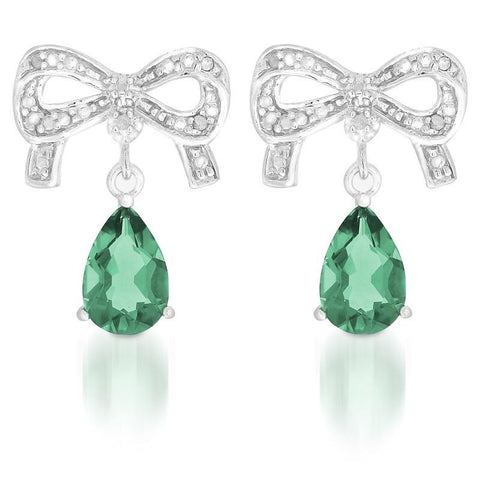 Created Emerald and diamond Bows Drop Earrings in Silver
