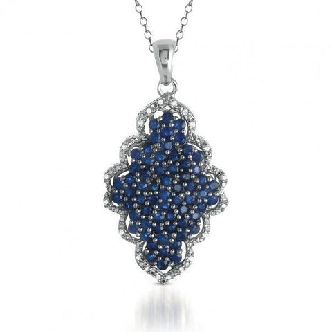 3.15CTW Genuine Sapphire and Diamond Cluster Pendant in Sterling Silver