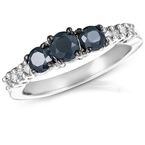 1CTW 3 stone Black and White diamond Ring in Sterling Silver