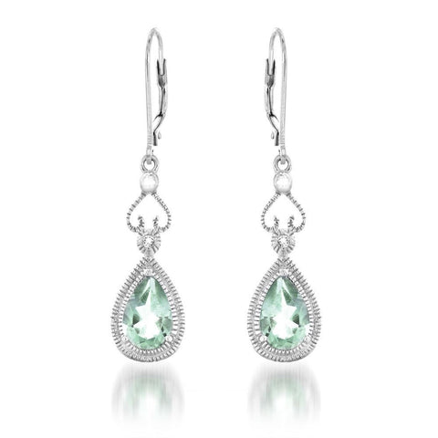 2.60CTW  Green Amethyst & White Topaz Dangle Earrings in Sterling Silver