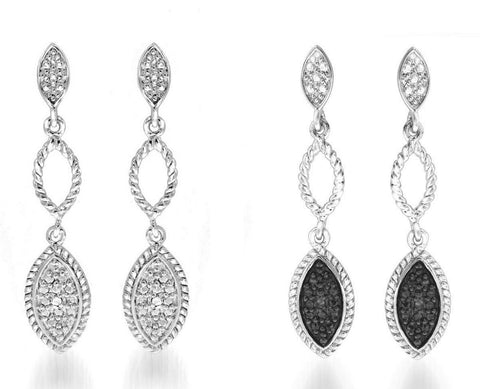2 Pairs of Diamond Dangle Earrings -Black and White Diamonds