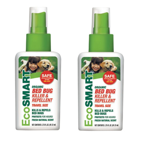 (2-Pack) EcoSMART - Organic Bed Bug Repellent Travel Size 2.75 oz, Fresh Natural Scent