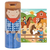 Petit Collage Tin Canister Jigsaw Floor Puzzle, At The Ranch, 64 Piece