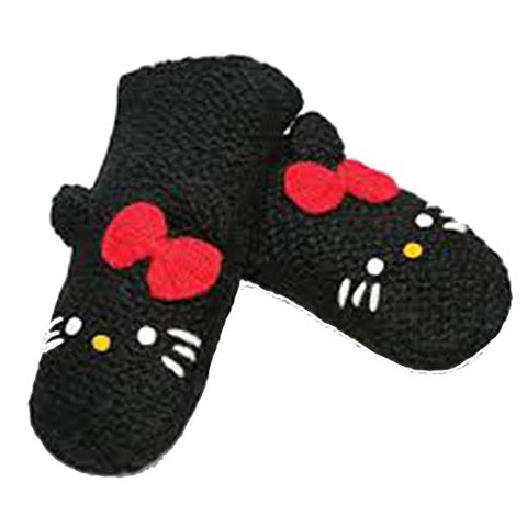 Delux Knitwits Hello Kitty Kids Wool Mittens Black, for Children 3-6 yrs , Warm & Fuzzy