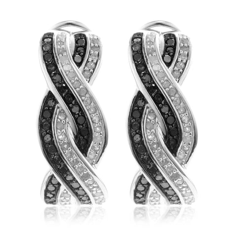 Hoop Earrings in Sterling Silver Details about  /Black and White Diamond 1//5 Carat ctw