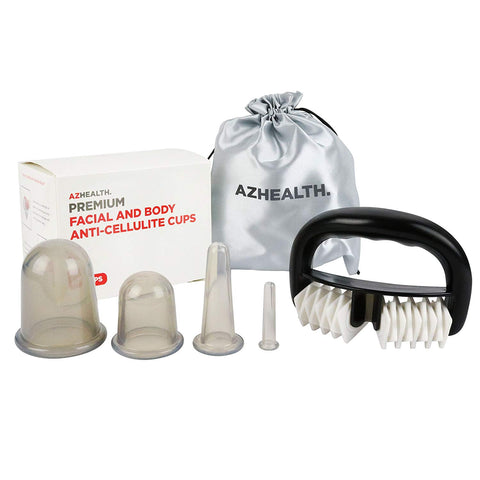AZHEALTH Premium Facial and Body Anti Cellulite Vacuum Cup Set for Massage Treatment, 4 Sizes Cups & Anti Cellulite Brush