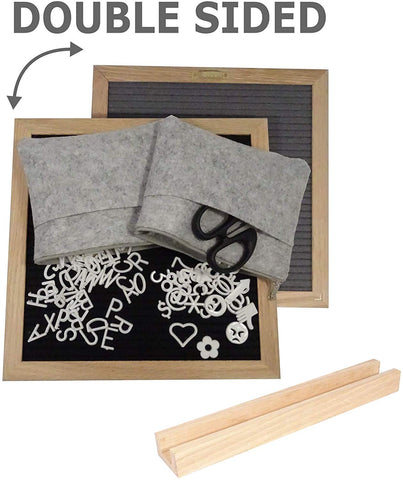 "Double Sided Black and Gray Felt Letter Board 10""x10"", 680 Letters, Oak Wood Frame & Stand, Includes Scissors & 2 Storage Bags"