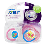 Philips Avent Freeflow Pacifier 18+ months, Pink Girl Colors, 2 pack, SCF186/26