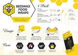 4 Pcs Food Wax Paper Reusable Beeswax Wraps Eco-Friendly Food Cover by Keeper Bee
