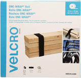 VELCRO Brand ONE-WRAP Mid Size 15m x 19mm / 16.4yd x 3/4inch Cut-to-Length Roll, Black