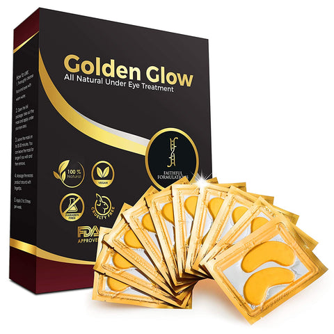 24K Golden Glow | Collagen Under Eye Mask | Puffy Eyes Treatment | Dark Circles & Puffiness Remover Pads | Anti Aging | Gel Patches for Wrinkles With Hyaluronic Acid (12 Sachets)