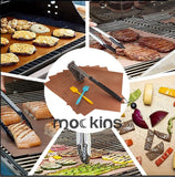Mockins 5 BBQ Grill Mats Set with 2 Basting Brushes & 1 Steel Wire Cleaning Brush
