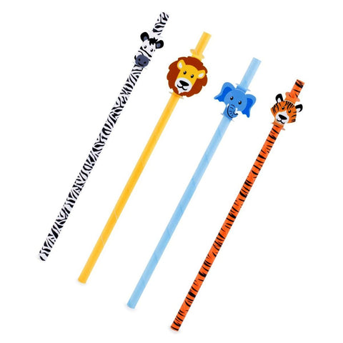 12pcs Kikkerland Safari Animals, Tiger, Lion, Zebra, Biodegradable Paper Straws