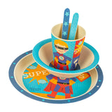 Sara Cucina BambooWare Eco Bamboo Fiber Kids Dinnerware Set, Super Hero, 5 Piece