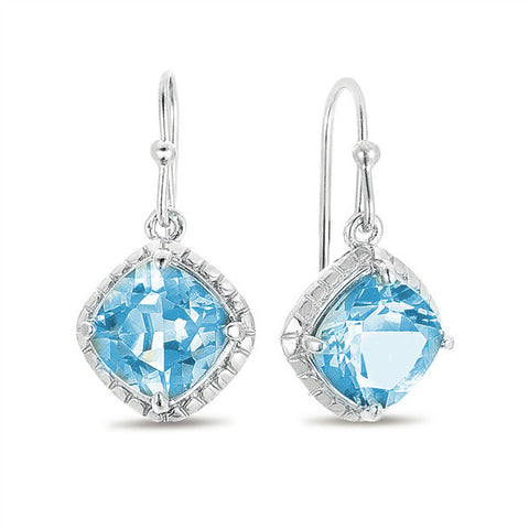 11.0 CTW Blue Topaz Cushion Cut Earrings in Sterling Silver