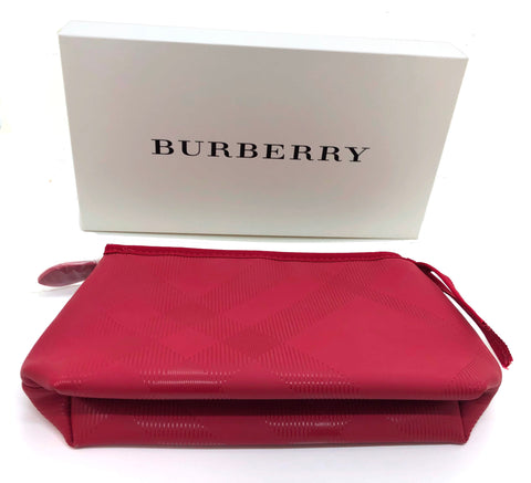 Burberry Large Military Red Pouch Travel Toiletry Makeup Bag with Gift Box