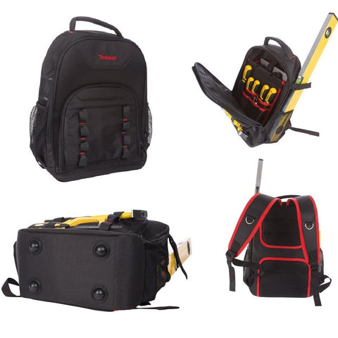 "Toolland FI67 Tool Bag Backpack 19.7"" x 14.9"" x 7.9"" with Utility Loops, Removable Internal Divider Storage Pockets & Padded Laptop Compartment"