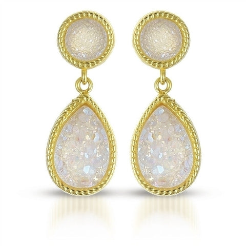 White Druzy Quarts Dangle drop earrings in 18K plated Sterling Silver