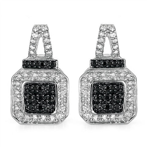 1/4CT Black & White Diamond Earrings in Sterling Silver