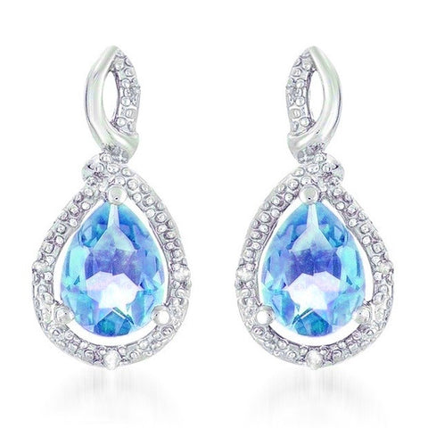 Blue Topaz and Diamond Earring in Sterling Silver