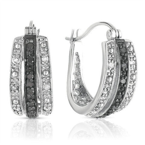 1/4CTW Black and White diamond Huggie Earring in Sterling silver