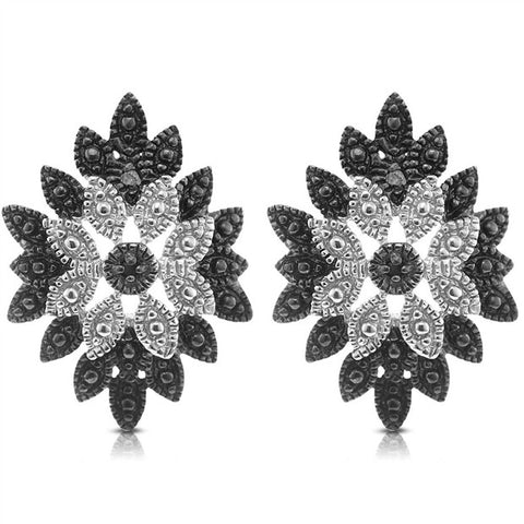 Genuine Diamond Accent Black & White Cluster Earrings in Sterling silver