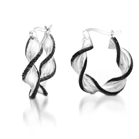 1/10CTW Black Diamond Twisted Hoop Earrings