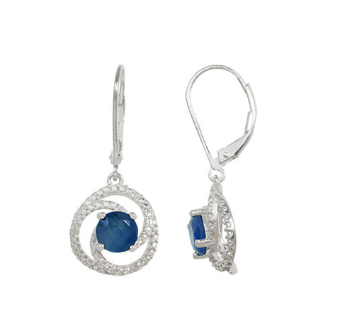 Genuine sapphire and diamond Accent earrings in Sterling Silver