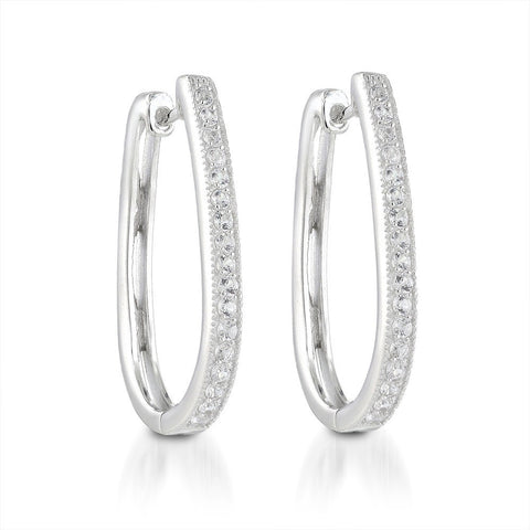 Lab Created  White Sapphire Hoop Earrings in Sterling silver