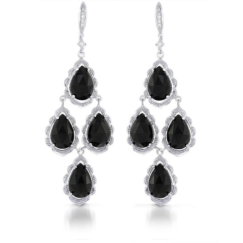 Genuine Onyz and CZ Chandelier Drop Earrings in Sterling Silver